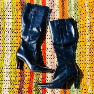 VINTAGE Nine West Square Toe Black Leather Boots